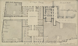 [Plan of Blackwell Hall, chapel & property adjoining in King St & Basinghall Street]